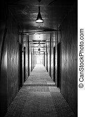 biały, czarnoskóry, korytarz