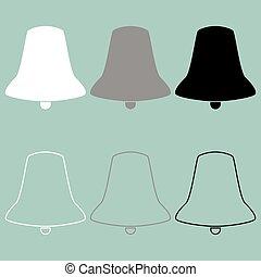 biały, czarnoskóry, szary, icon., dzwon