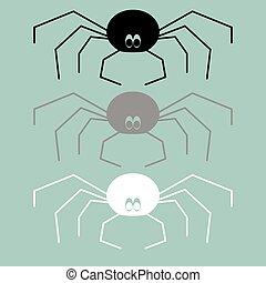 biały, czarnoskóry, szary, icon., pająk