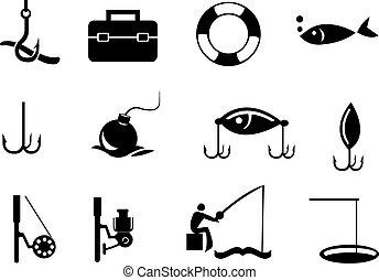 biały, czarnoskóry, wędkarski, tło, ikony
