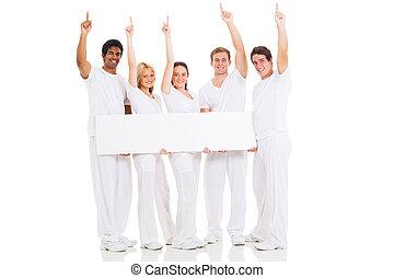 biały, czysty, grupa, deska, ludzie