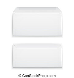 biały, czysty, koperty, tło.