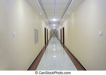 biały, długi, korytarz