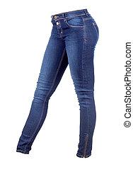 biały, dżinsy, odizolowany, samica, spodnie