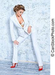 biały, dama, garnitur