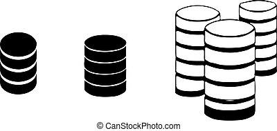 biały, database, tło, ikona