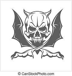 biały, demon, czaszka