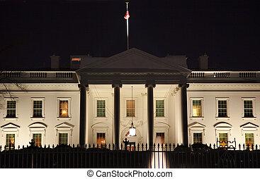 biały dom, noc, pensylwania, ave, waszyngton dc