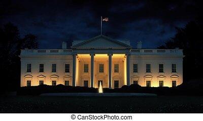 biały dom, w nocy