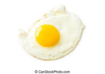 biały, dosmażane jajko, odizolowany, tło