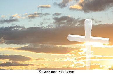 biały, drewniany, krzyż, na, niejaki, zachód słońca