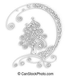 biały, drzewo, boże narodzenie