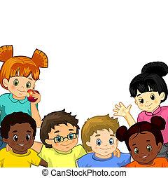 biały, dzieci, tło