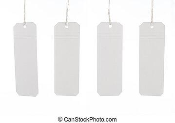 biały, etykiety, zawiązywać