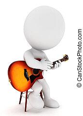biały, gitarzysta, 3d, ludzie