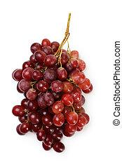 biały grape, odizolowany, czerwony