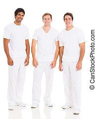 biały, grupa, młody mężczyzna