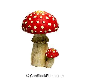 biały, grzyb, czerwony