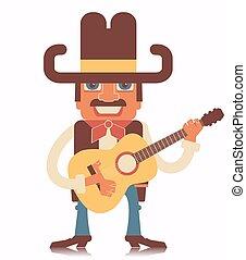 biały, guitar.vector, odizolowany, kowboj