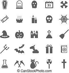 biały, halloween, tło, ikony
