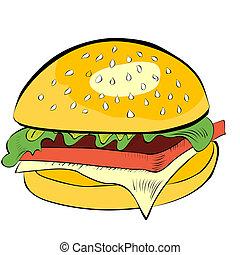 biały, hamburger, odizolowany, tło