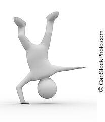 biały, handstand, tło, człowiek