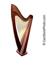 biały, harfa