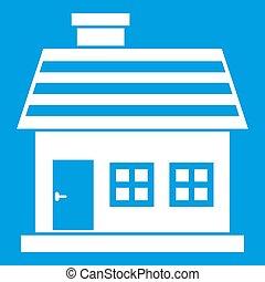 biały, ikona, dom, one-storey