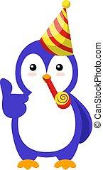 biały, ilustracja, pingwin, kapelusz, urodziny, wektor, tło.