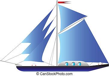 biały, jacht, odizolowany