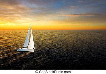 biały, jacht