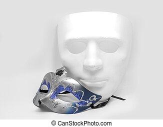 biały, klasyk, maska, pół