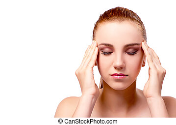 biały, kobieta, odizolowany, ból głowy