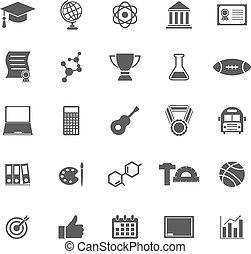 biały, kolegium, tło, ikony