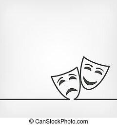 biały, komedia, tło, maski, tragedia