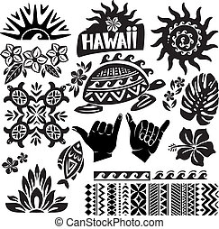 biały, komplet, czarnoskóry, hawaje