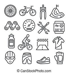 biały, komplet, ikony, jeżdżenie na rowerze, tło, kreska
