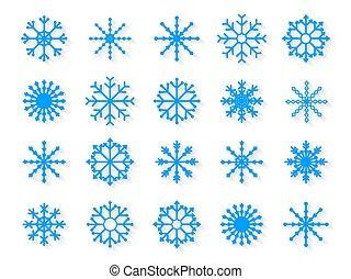 biały, komplet, płatki śniegu, tło, odizolowany