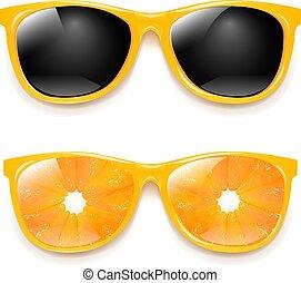 biały, komplet, sunglasses, odizolowany, tło