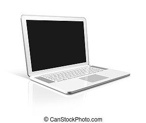 biały, komputer, laptop, odizolowany
