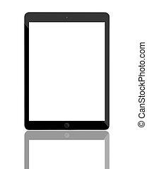 biały, komputer, screen., tabliczka, czysty