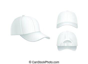 biały, korona, baseball