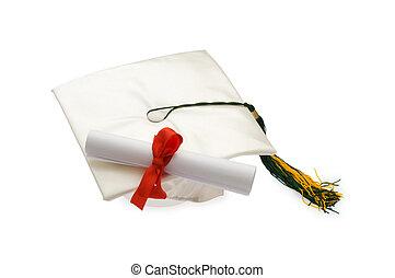 biały, korona, dyplom, skala, odizolowany