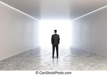 biały, korytarz, człowiek