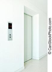 biały, korytarz, elewator