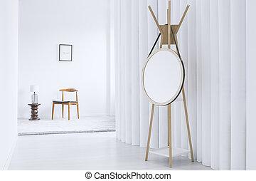 biały, korytarz, lustro