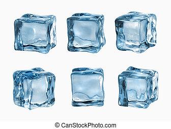 biały, kostki, odizolowany, lód