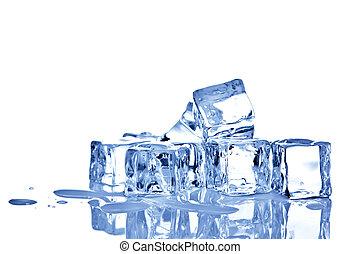 biały, kostki, tło, odizolowany, lód