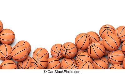 biały, koszykówka, tło, odizolowany, piłki