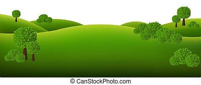 biały, krajobraz, zielony, odizolowany, tło